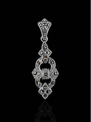 Удлиненный серебряный кулон с марказитами Lace, фото , изображение 2