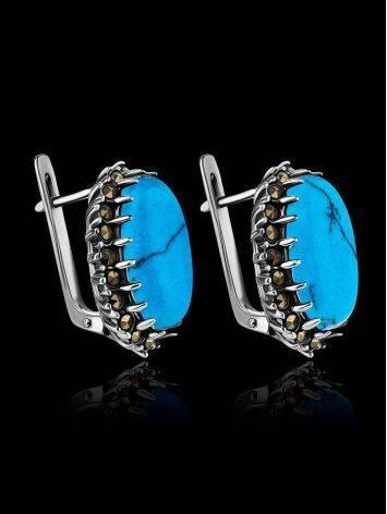 Элегантные серебряные серьги овальной формы с бирюзой, фото , изображение 2
