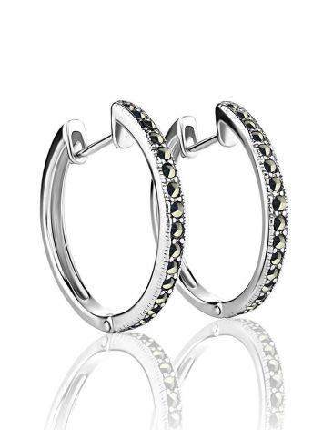Эффектные серебряные серьги-кольца с марказитами Lace, фото