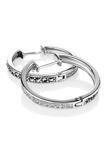 Эффектные серебряные серьги-кольца с марказитами Lace, фото , изображение 3