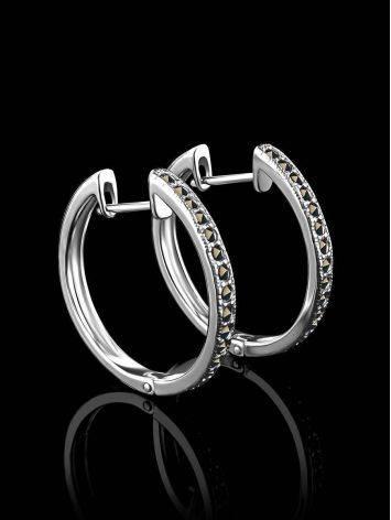Эффектные серебряные серьги-кольца с марказитами Lace, фото , изображение 2