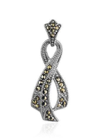 Элегантный серебряный кулон в виде ленточки с марказитами Lace, фото
