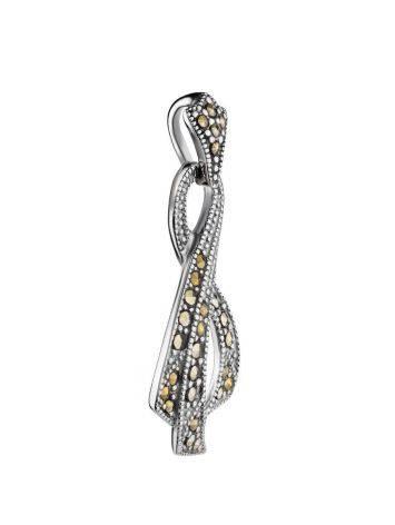 Элегантный серебряный кулон в виде ленточки с марказитами Lace, фото , изображение 3