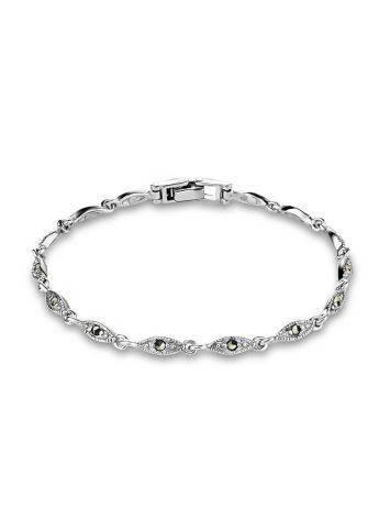 Классический серебряный браслет из звеньев с марказитами Lace, фото