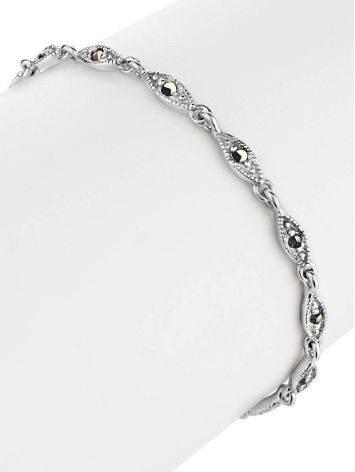 Классический серебряный браслет из звеньев с марказитами Lace, фото , изображение 3