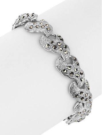 Эффектный серебряный браслет из звеньев с марказитами Lace, фото , изображение 3