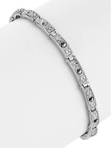 Изящный серебряный браслет с марказитами Lace, фото , изображение 3