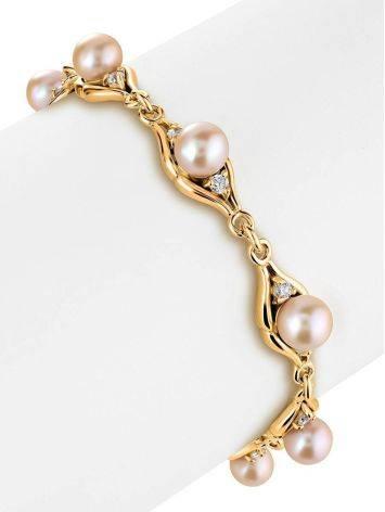 Элегантный позолоченный браслет с жемчугом и фианитами «Ариэль», фото , изображение 2
