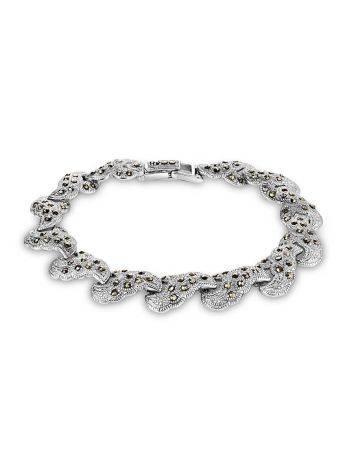 Эффектный серебряный браслет из звеньев с марказитами Lace, фото