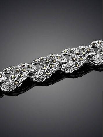 Эффектный серебряный браслет из звеньев с марказитами Lace, фото , изображение 2