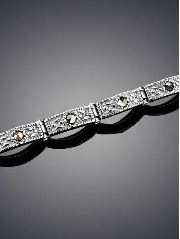 Изящный серебряный браслет с марказитами Lace, фото , изображение 2