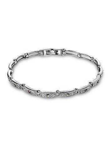 Изящный серебряный браслет с марказитами Lace, фото