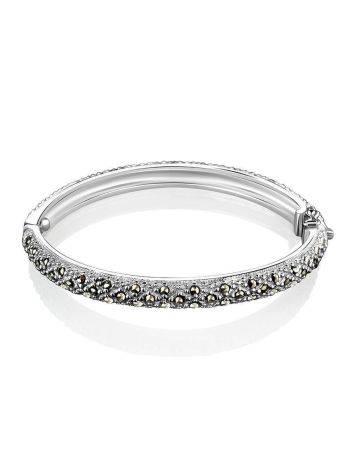 Серебряный браслет-обруч с марказитами Lace, фото , изображение 3