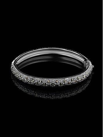 Серебряный браслет-обруч с марказитами Lace, фото , изображение 2