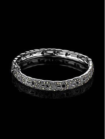 Элегантный серебряный браслет-обруч с марказитами Lace, фото , изображение 2