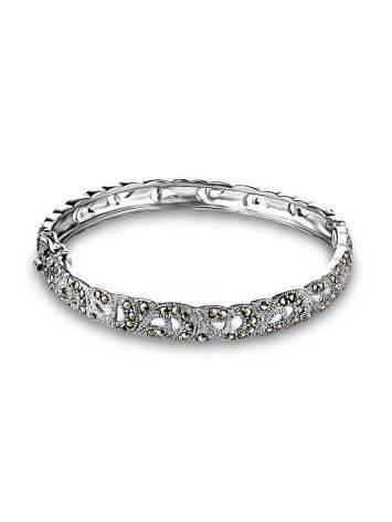 Элегантный серебряный браслет-обруч с марказитами Lace, фото , изображение 4