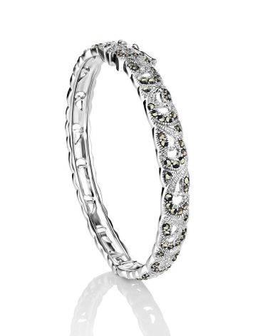 Элегантный серебряный браслет-обруч с марказитами Lace, фото