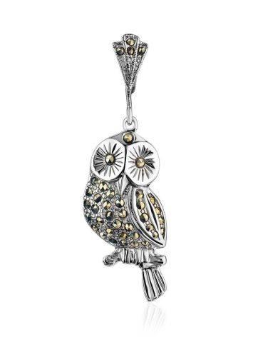 Нарядная серебряная подвеска-сова с марказитами Lace, фото