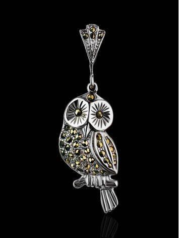 Нарядная серебряная подвеска-сова с марказитами Lace, фото , изображение 2