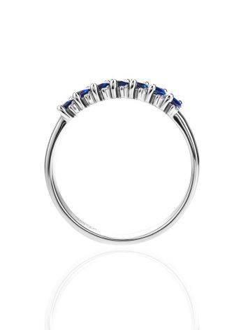 Стильное кольцо из белого золота с сапфирами в окружении 14 бриллиантов «Ундина», Размер кольца: 16, фото , изображение 3