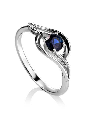Женственное кольцо из белого золота с сапфиром «Ундина», Размер кольца: 16.5, фото