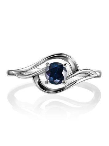 Женственное кольцо из белого золота с сапфиром «Ундина», Размер кольца: 16.5, фото , изображение 3