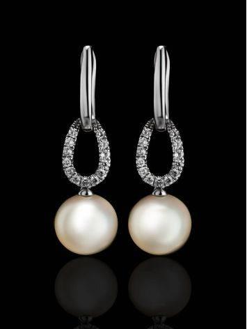 Ультра-женственные бриллиантовые серьги с жемчужными подвесками, фото , изображение 2