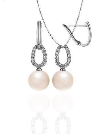 Ультра-женственные бриллиантовые серьги с жемчужными подвесками, фото , изображение 5