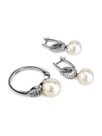 Ультра-женственные бриллиантовые серьги с жемчужными подвесками, фото , изображение 4