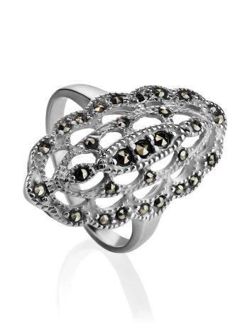 Ажурное серебряное коктейльное кольцо с марказитами Lace, Размер кольца: 17, фото