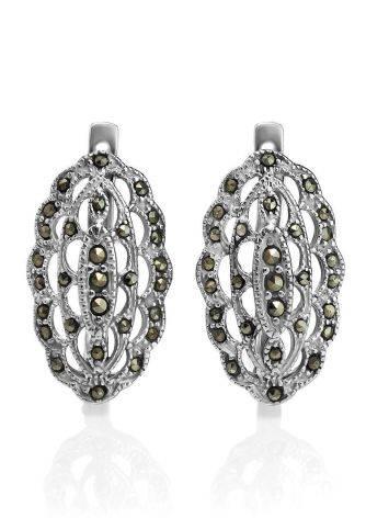 Нарядные серебряные серьги с марказитами Lace, фото , изображение 3