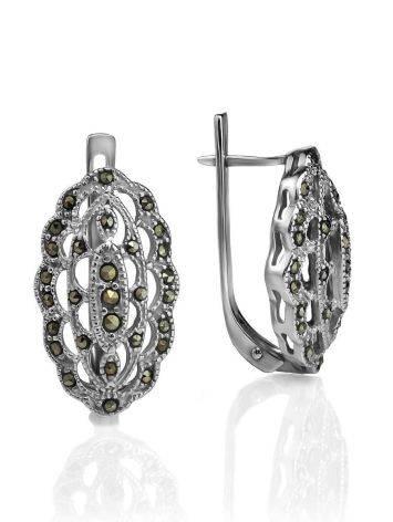 Нарядные серебряные серьги с марказитами Lace, фото