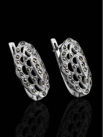 Нарядные серебряные серьги с марказитами Lace, фото , изображение 2