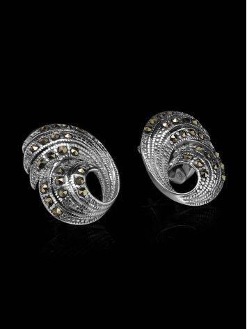 Объемные серебряные серьги с марказитами Lace, фото , изображение 2