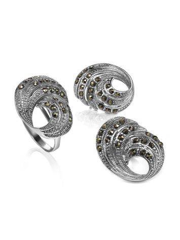 Объемные серебряные серьги с марказитами Lace, фото , изображение 4