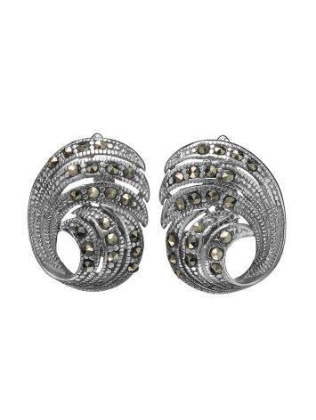 Объемные серебряные серьги с марказитами Lace, фото , изображение 3