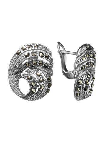 Объемные серебряные серьги с марказитами Lace, фото