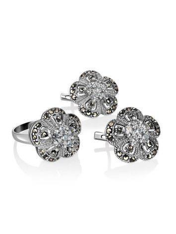 Элегантные серебряные серьги в виде цветов с марказитами Lace, фото , изображение 4