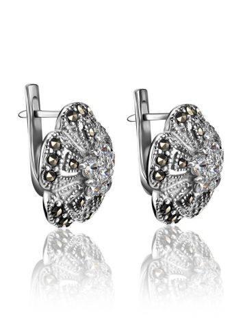 Элегантные серебряные серьги в виде цветов с марказитами Lace, фото , изображение 3