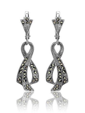 Удлиненные серебряные серьги в виде ленточек с марказитами Lace, фото