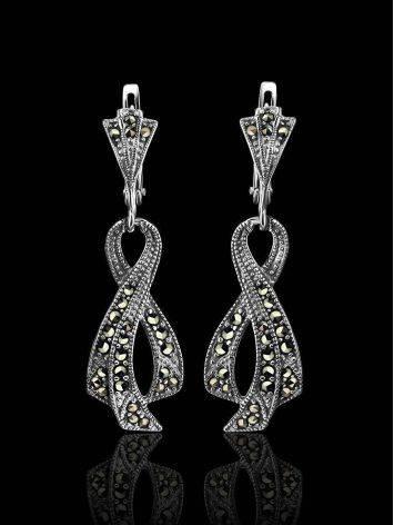 Удлиненные серебряные серьги в виде ленточек с марказитами Lace, фото , изображение 2