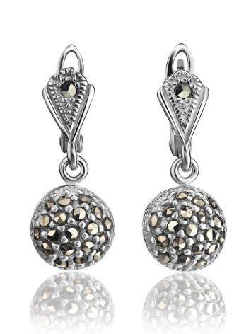 Крупные серебряные серьги с марказитами Lace, фото , изображение 3