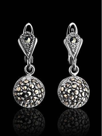 Крупные серебряные серьги с марказитами Lace, фото , изображение 2