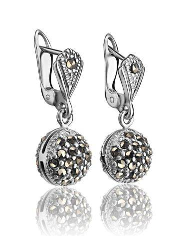 Крупные серебряные серьги с марказитами Lace, фото