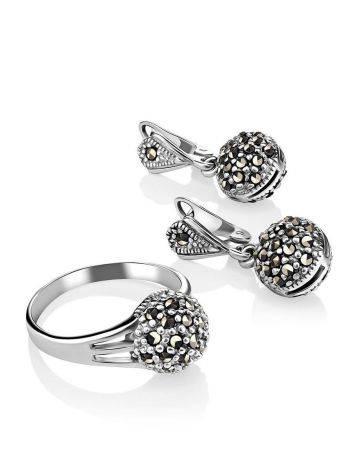 Крупные серебряные серьги с марказитами Lace, фото , изображение 4