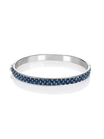 Крупный жесткий серебряный браслет с голубыми кристаллами Eclat, фото , изображение 3