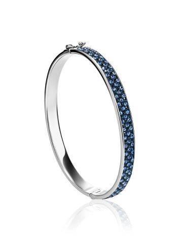 Крупный жесткий серебряный браслет с голубыми кристаллами Eclat, фото