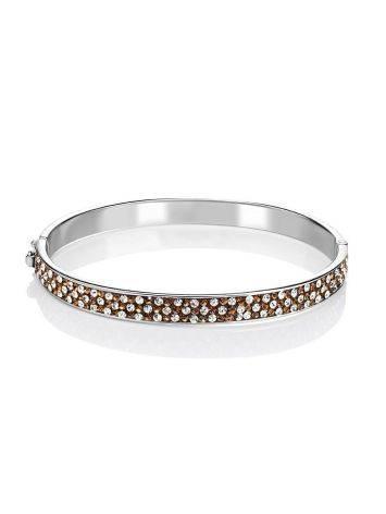 Нарядный серебряный браслет с кремовыми кристаллами Eclat, фото , изображение 3
