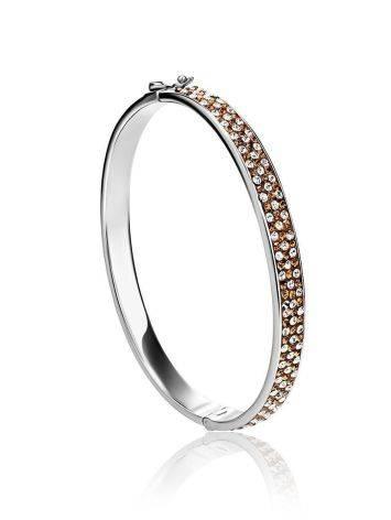 Нарядный серебряный браслет с кремовыми кристаллами Eclat, фото