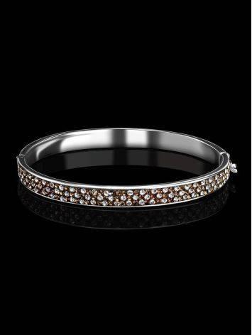 Нарядный серебряный браслет с кремовыми кристаллами Eclat, фото , изображение 2